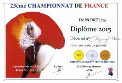Diplôme championnat de France 2015